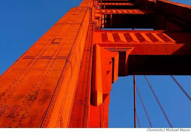 goldengatebridge2_243_mac.jpg The South tower. The Golden Gate Bridge set to turn 70 years old on Sunday May 27th. Photographed in, San Francisco, Ca, on 5/22/07. Photo by: Michael Macor/ The Chronicle Photo: Michael Macor