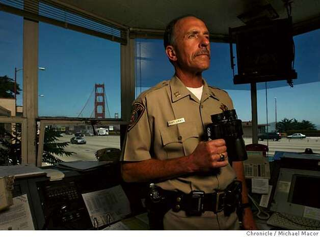 goldengatebridge2_018_mac.jpg Capt. Michael Locati in charge of security for the Golden Gate bridge. The Golden Gate Bridge set to turn 70 years old on Sunday May 27th. Photographed in, San Francisco, Ca, on 5/22/07. Photo by: Michael Macor/ The Chronicle Photo: Michael Macor