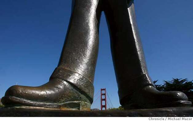 goldengatebridge1_216_mac.jpg A statue of Joseph B.Strauss the Chief Engineer of the Golden Gate Bridge project, stands at the Southern end of the bridge. The Golden Gate Bridge set to turn 70 years old on Sunday May 27th. Photographed in, San Francisco, Ca, on 5/21/07. Photo by: Michael Macor/ The Chronicle Photo: Michael Macor