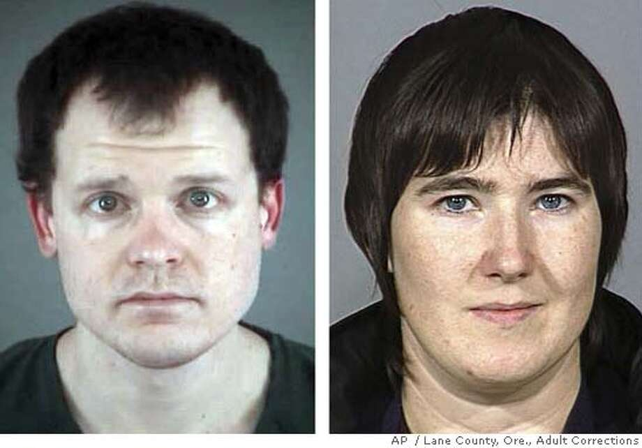 ** FILE ** Kevin M. Tubbs, left, is shown in an undated booking photo retrieved from the Lane County, Ore., Adult Corrections Web site. Chelsea D. Gerlach is shown at right, in an undated police booking photo provided by Multnomah County, Ore., officials. A hearing is set for Tubbs and Gerlach, along with eight others, in Eugene, Tuesday, May 15, 2007, in connection with acts of eco terrorism. (AP Photo/Multnomah County, Ore/Lane County, Ore., Adult Corrections) UNDATED POLICE BOOKING PHOTOS PROVIDED BY LANE AND MULTNOMAH, ORE., OFFICIALS Photo: Ho