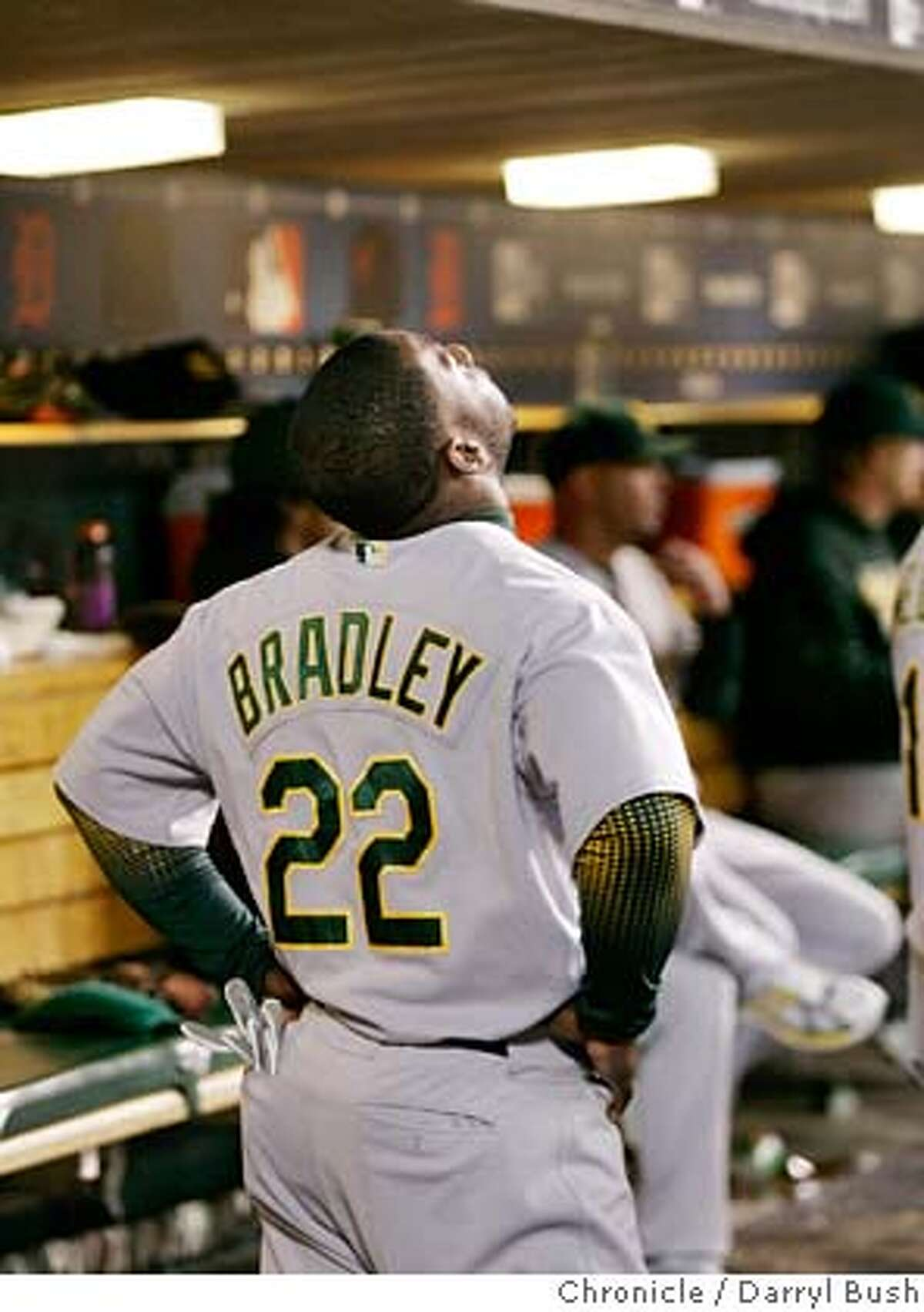 Athletics_0001_db.JPG Oakland Athletics Milton Bradley reacts to making an out in the dugout after hitting a long fly ball out in the 9th inning vs. Detroit Tigers in the 4th game of ALCS, at Comerica Park in Detroit, MI, on Saturday, October 14, 2006. The A's lost game and the series 4-0. 10/14/06 Darryl Bush / The Chronicle ** roster (cq) Ran on: 10-15-2006 Magglio Ordo�ez provided the final heroics in the Tigers-As series, with a three-run home run in the ninth inning. Ran on: 10-15-2006 Ran on: 10-15-2006 Magglio Ordo�ez provided the final heroics in the Tigers-As series, with a three-run home run in the ninth inning. Ran on: 10-15-2006 Magglio Ordo�ez provided the final heroics in the Tigers-As series, with a three-run home run in the ninth inning. MANDATORY CREDIT FOR PHOTOG AND SF CHRONICLE/NO SALES-MAGS OUT