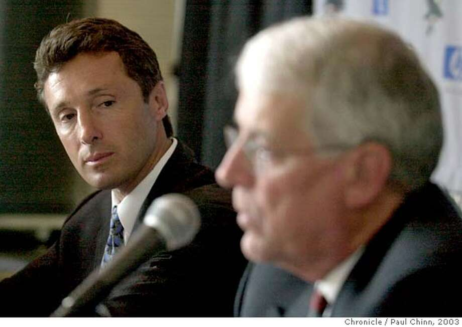 sharks046_pc.jpg Doug Wilson (left) listened as team president Greg Jamison addressed the media. Wilson was named general manager of the San Jose Sharks on 5/13/03 in San Jose. PAUL CHINN / The Chronicle MANDATORY CREDIT FOR PHOTOG AND SF CHRONICLE/NO SALES-MAGS OUT Photo: PAUL CHINN