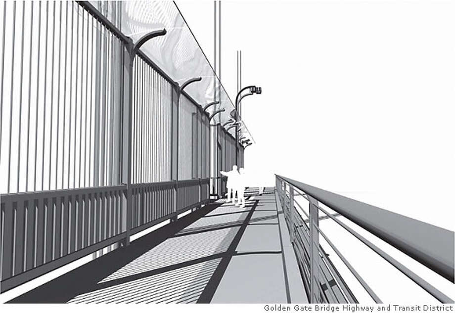 FIGURE 1.2b - EXAMPLE OF CONCEPT 1 (EXAMPLE SHOWN WITH HEIGHT OF 14�-0� TRANSPARENT WINGLET OF 64�,  VERTICAL MEMBERS SPACED AT 6�, SOLID RATIO OF 12%) VIEW FROM SIDEWALK Credit: Golden Gate Bridge Highway and Transit District  (Note: Mary Currie gave us credit line, said there was no artist to credit and they hold the copyright).  42462  4GATE Photo: See Above
