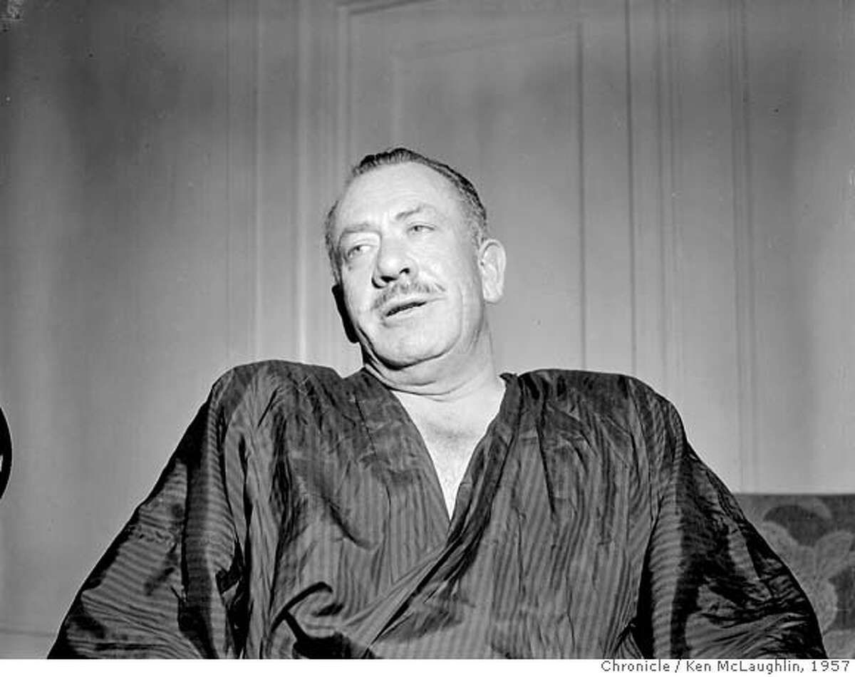 STEINBECK3/C/19SEP57/PK/KM-John Steinbeck AUTHOR, ON LIST OF 100 BEST ENGLISH LANGUAGE NOVELS OF THE TWENTITH (20TH) CENTURY. PHOTO BY KEN MCLAUGHLIN/THE CHRONICLE 1957 CAT