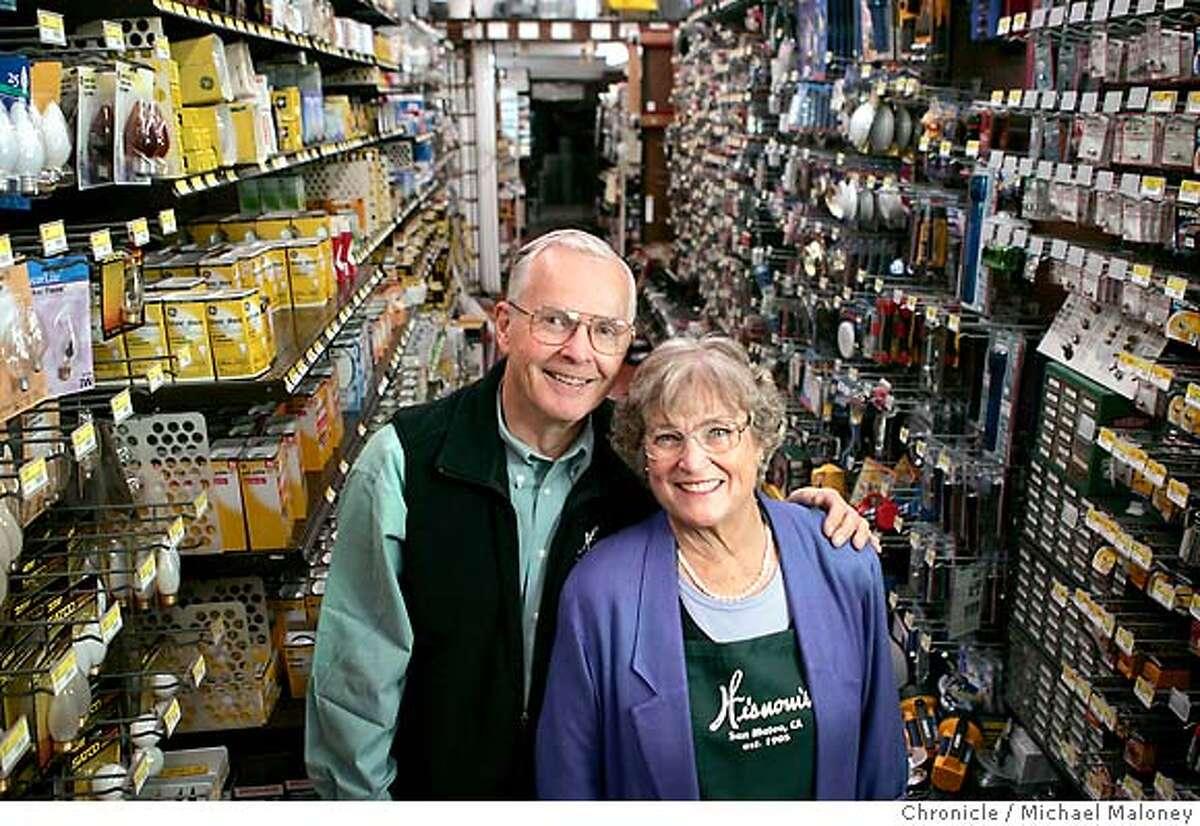 PROFILES29_010_MJM.jpg Dick Nelson & Suzi (cq) Wisnom Nelson, owners of Wisnom's hardware store in San Mateo. (NOTE : Suzi prefers