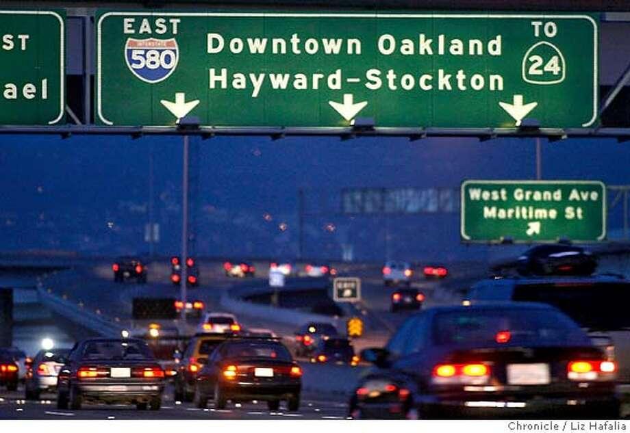 580 freeway connector is opened for traffic. Photographed by Liz Hafalia Photo: Liz Hafalia