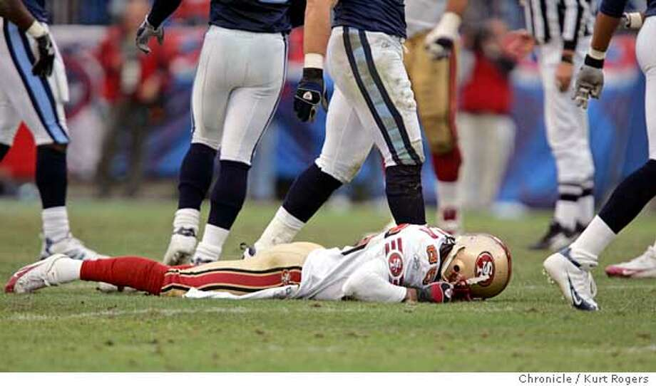 Brandon Lloyd missed a catch in the third quarter and stayed on the ground after the play.  The Tennessee Titans Vs San Francisco 49ers At the Coliseum .  Kurt Rogers NASHVILLE SFC  The Chronicle Photo: Kurt Rogers