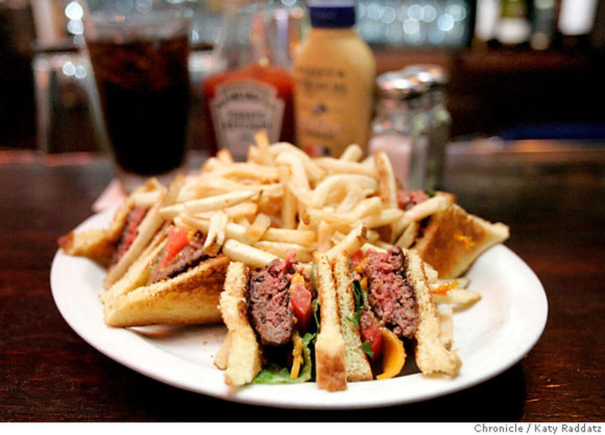 BARBITES24_026_RAD.jpg SHOWN: The Liverpool Lil's Club Burger. Liverpool Lil's bar in San Francisco. These pictures were made in San Francisco CA. on Tuesday, May 15, 2007. (Katy Raddatz/The Chronicle) **Liverpool Lil's