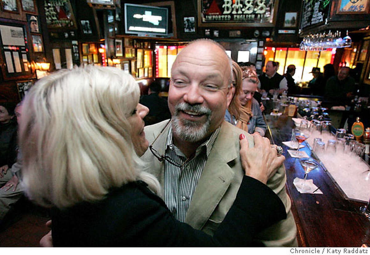 BARBITES24_056_RAD.jpg SHOWN: Owner Eddie Savino gets a hug goodbye from a customer. Liverpool Lil's bar in San Francisco. These pictures were made in San Francisco CA. on Tuesday, May 15, 2007. (Katy Raddatz/The Chronicle) **Eddie Savino, Liverpool Lil's