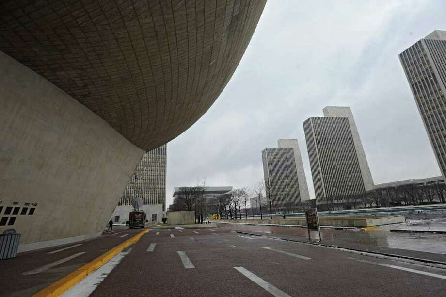 View of New York State office buildings from under The Egg at the Empire State Plaza on Tuesday, Jan 17, 2012 in Albany, N.Y.   (Lori Van Buren / Times Union) Photo: Lori Van Buren