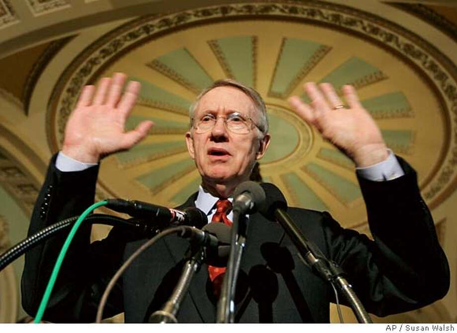 Senate Majority Leader Harry Reid of Nev. talks with reporters on Capitol Hill in Washington, Tuesday, May 22, 2007, following debate on the Iraq funding bill. (AP Photo/Susan Walsh) Photo: Susan Walsh
