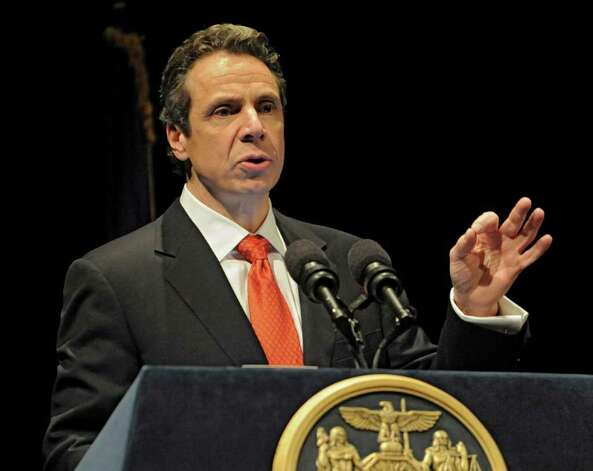 New  York State Governor Andrew Cuomo presents the 2012-2013 New York State budget proposal in the Hart Theater in The Egg on Tuesday, Jan 17, 2012 in Albany, N.Y.  (Lori Van Buren / Times Union) Photo: Lori Van Buren