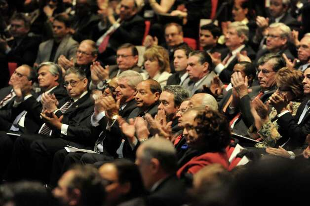 Government officials listen as New York State Governor Andrew Cuomo presents the 2012-2013 New York State budget proposal in the Hart Theater in The Egg on Tuesday, Jan 17, 2012 in Albany, N.Y.  (Lori Van Buren / Times Union) Photo: Lori Van Buren