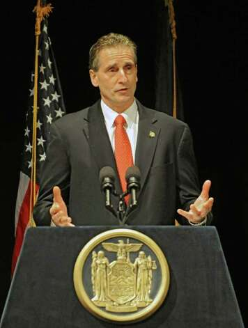 New York State Lt. Gov. Robert Duffy speaks preceding New York State Governor Andrew Cuomo presenting the 2012-2013 New York State budget proposal in the Hart Theater in The Egg on Tuesday, Jan 17, 2012 in Albany, N.Y.   (Lori Van Buren / Times Union) Photo: Lori Van Buren