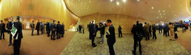Panarama of people mingling in the lobby of The Egg after New York State Governor Andrew Cuomo's 2012-13 Executive Budget & Reform Plan address on Tuesday, Jan 17, 2012 in Albany, N.Y.   (Lori Van Buren / Times Union) Photo: Lori Van Buren