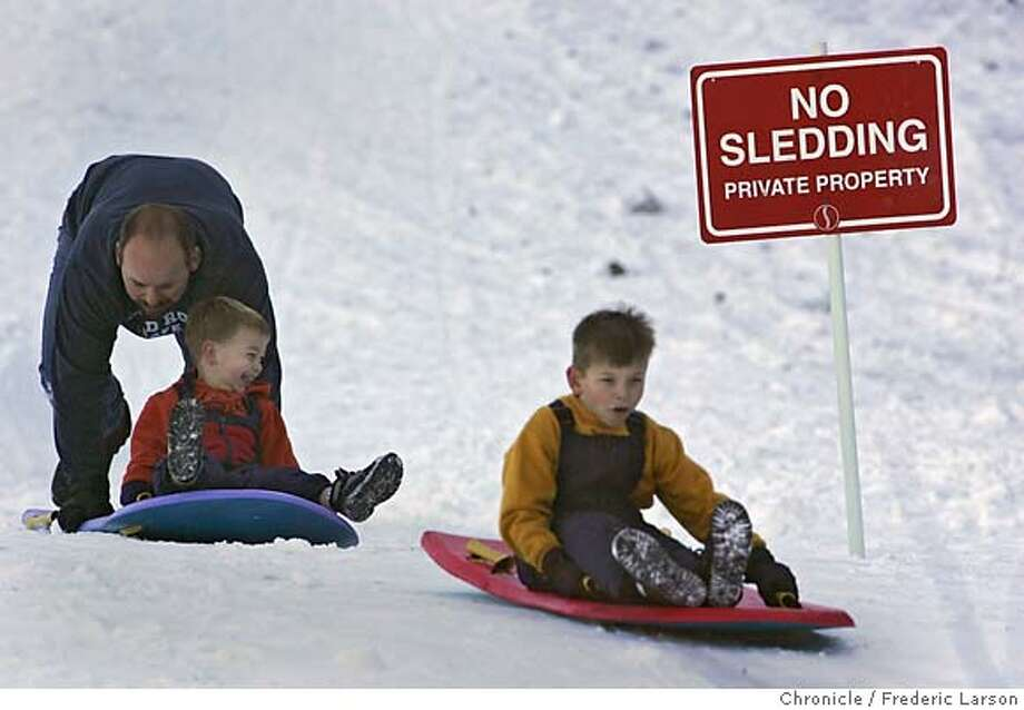 WEATHER_287_fl.jpg Brian Garrison of Santa Rosa along with his two sons Chandler (6) and Nate (2) found the only small patch of snow at Squaw Valley to get in a couple of runs of unauthorized Thanksgiving sledding in. The weather is forecasted to change for the best for ski buff's as Thanksgiving Day looks like the end of Northern California's long spell of beautiful warm days and cool nights. There's a change in the weather just around the corner. The National Weather Service is forecasting a sprinkling of rain Thursday night and a 50-50 chance of more rain Friday, as a small storm breaks up an unseasonable spell of balmy weather. The rain will bring with it temperatures more appropriate to November -- highs in the 60s instead of the 70s, a few clouds, and a promise of more rain perhaps next week. Winds will pick up Friday, replacing the light breezes of the past week. The surf on the ocean beaches will also increase -- from seas 2 to 3 feet high to swells from 9 to 12 feet. The surf is expected to be so high that state park officials issued a warning about danger on the beaches for Friday and Saturday. 11/25/05 Squaw Valley CA Frederic Larson San Francisco Chronicle Photo: Frederic Larson