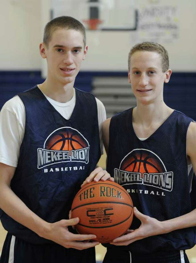 Brothers Caleb, left and Colin Stewart compete together on the Mekeel Christian Academy's men's basketball in Scotia, N.Y.  team Jan. 16, 2012.   ( Skip Dickstein/Times Union) Photo: Skip Dickstein / 2011