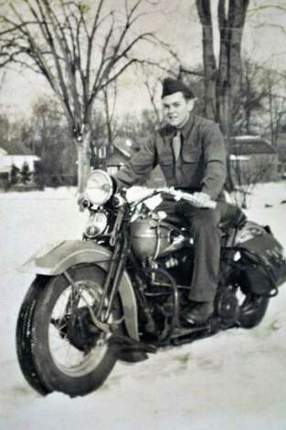 Photo courtesy of the Stevens family:  Harold Stevens in his US Army uniform on a motorcycle.  The 21-year-old Saratoga Springs man died in a German POW camp in France near the end of World War II / 00016115A