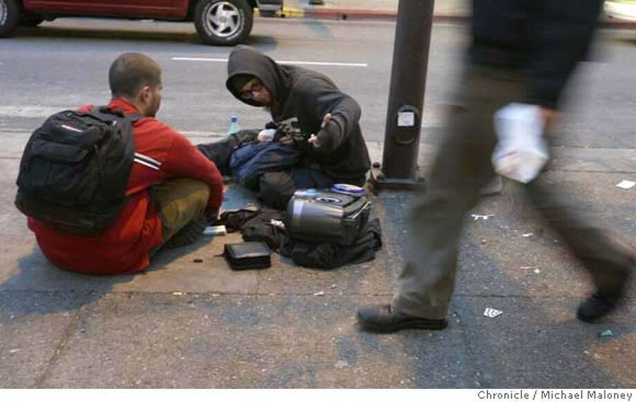EBHOMELESS_069_MJM.jpg  These two unidentified kids hang out on Berkeley's Telegraph Ave listening to their boom box with other homeless youth.  Berkeley has just opened a new shelter for homeless youth ages 18- 25. Called YEAH! (Youth Emergency Assistance Hostels), the shelter at the Lutheran Church of the Cross on University Avenue is open 7 nights a week offering a safe, warm, dry place to sleep during the winter months.  Michael Maloney / The Chronicle MANDATORY CREDIT FOR PHOTOG AND SF CHRONICLE/NO SALES-MAGS OUT Photo: Michael Maloney
