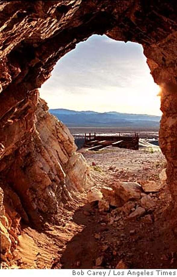 Entrance to Rainbow Talc Mine inside Death Valley National Park in California, which operated sporadically from 1952 until 1972. Illustrates TALC (category a), by Stephanie Simon 1998, Los Angeles Times. Moved Thursday, Feb. 19, 1998. (MUST CREDIT: Los Angeles Times photo by Bob Carey.) CAT Photo: BOB CAREY