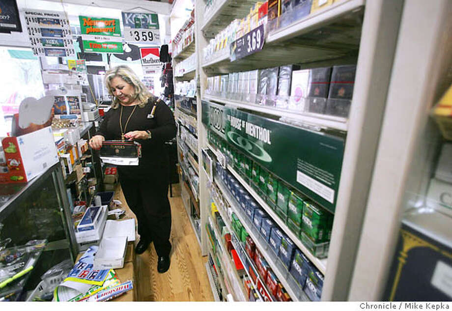 tobacco22026seqn}_mk.JPG  Alma Abouraya has been running Alma's Cigarettes for 3 years on Larkin Street in San Franicisco. san Francisco on date}. Mike Kepka / The Chronicle MANDATORY CREDIT FOR PHOTOG AND SF CHRONICLE/ -MAGS OUT Photo: Mike Kepka