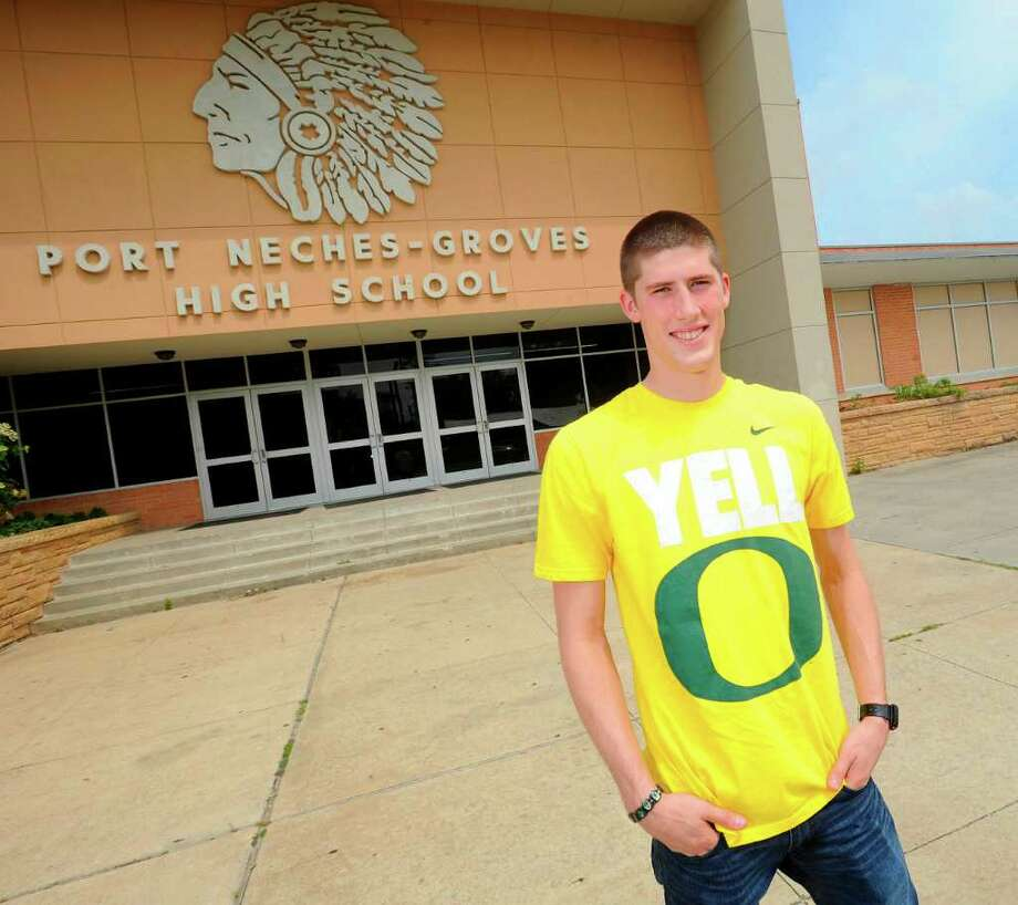Port Neches-Groves quarterback Brennan Doty will be a walk on athlete at the University of Oregon. Doty along with East Chambers quarterback Hank Jones are the area's top quarterbacks that have been invited to be preferred walk ons at schools that have played in BCS bowl games. Wednesday, May 11,  2011.  Valentino Mauricio/The Enterprise Photo: Valentino Mauricio