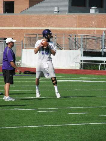 Senior quarterback Brennan Doty is a returning starter, shown at Port Neches-Groves? first practice of the fall on August 9, 2010. Photo: DAVID HENRY