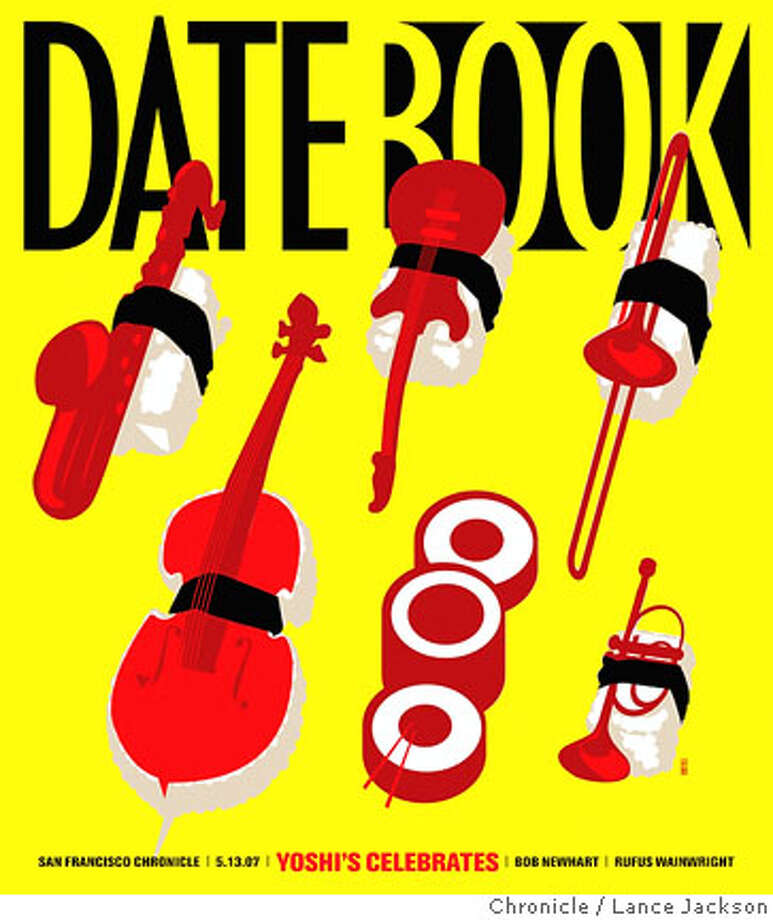 Datebook Cover: Yoshi's Celebrates. Chronicle graphic by Lance Jackson