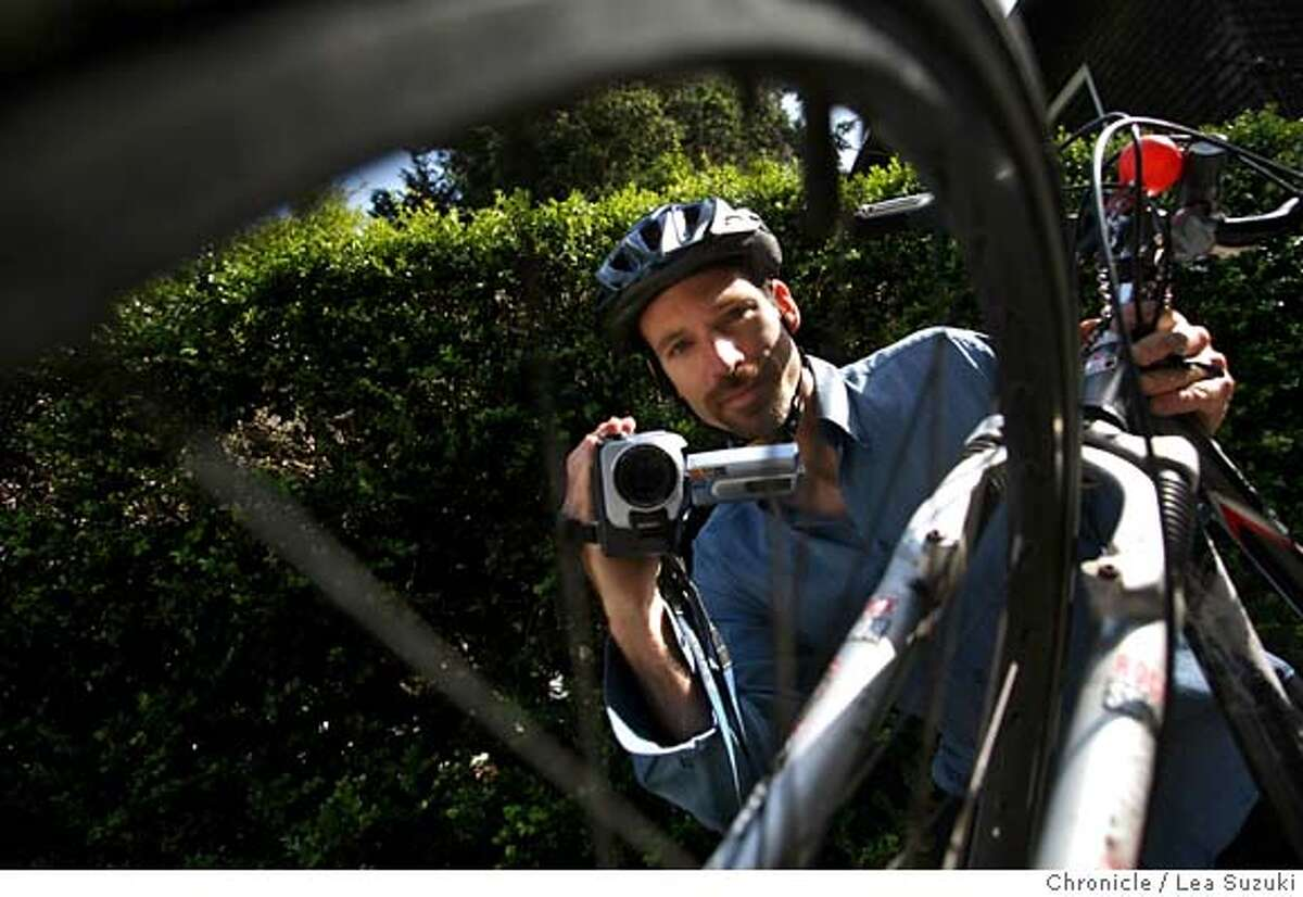 berkbikes15_015_ls.JPG Jason Meggs captured on video the altercation during the Critical Mass ride in Berkeley on Friday, May 11, 2007. (Note: this is not the camera which he captured the video). Photo taken on 5/14/07 in Berkeley, CA. Photo by Lea Suzuki/ The Chronicle ()cq MANDATORY CREDIT FOR PHOTOG AND SF CHRONICLE/NO SALES-MAGS OUT.