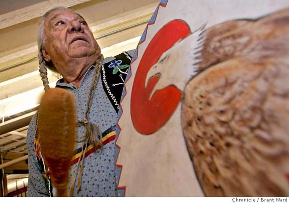 nordwall009_ward.jpg  Fortunate Eagle plans to play this Crow Hand Drum, which he hand painted, just after it is auctioned. He played it on Alcatraz.  Adam Fortunate Eagle Norwall, one of the principal organizers of the Alcatraz takeover in 1969, is auctioning off over 130 artifacts some of which he had on Alcatraz with him. He says he is selling the collectibles to raise money for his retirement. The auction will be held Wednesday at the Greg Martin Auction house on Third Street in San Francisco.  11/15/05 Photo: Brant Ward
