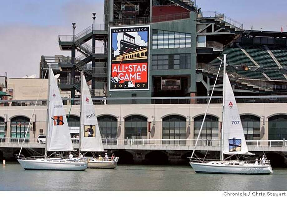 giants_allstars_358_cs.jpg Event on 7/14/06 in San Francisco. A flotilla of sailboats floats by AT&T Park featuring the 2007 Major League Baseball All-Star Game logo and supporting icons on their sails as part of the brief ceremony that took place at China Basin Park, across McCovey Cove from the ballpark. The 2007 All-Star Game will be held July 10, 2007 at the park and is the 78th Midsummer Classic. The logos were designed by well-known local artist Michael Schwab, and the 2007 All-Star Game logo will serve as the insignia for San Francisco's first Midsummer Classic since 1984.  Chris Stewart / The Chronicle San Francisco Giants, AT&T Park Gavin Newsom, Larry Baer, Peter Magowan, Bob DuPuy, Major League Baseball, 2007 Major League Baseball All-Star Game Ran on: 07-15-2006  Home Sweet Home? The Giants are excited about hosting the 2007 All-Star Game, but non-season ticket-holders will be hard-pressed to find a seat.  Ran on: 07-15-2006  Home Sweet Home? The Giants are excited about hosting the 2007 All-Star Game, but non-season ticket-holders will be hard-pressed to find a seat.  Ran on: 07-15-2006  Home Sweet Home?: The Giants are excited about hosting the 2007 All-Star Game, but non-season ticket-holders will be hard-pressed to find a seat. MANDATORY CREDIT FOR PHOTOG AND SF CHRONICLE/NO SALES-MAGS OUT Photo: Chris Stewart
