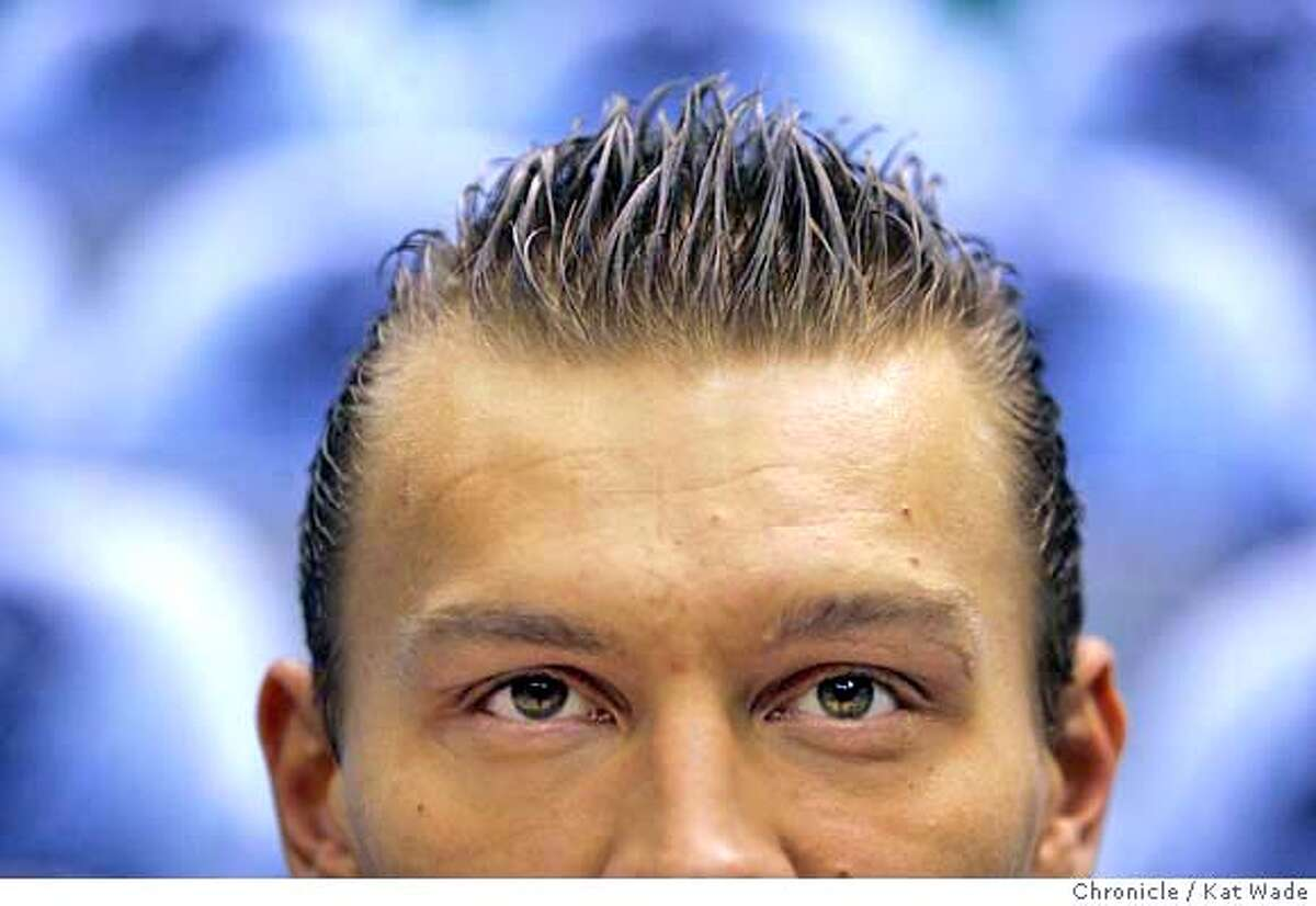 HAIRBALL_0011_KW.JPG Golden State Warriors' Andris Biedrins of Latvia has his hair cut in San Francisco and spikes it up for the playoff game 2 round 2 at EnergySolutions Arena in Salt Lake City, Utah on Thursday May 9, 2007. Kat Wade/The Chronicle Mandatory Credit for San Francisco Chronicle and photographer, Kat Wade, No Sales Mags out