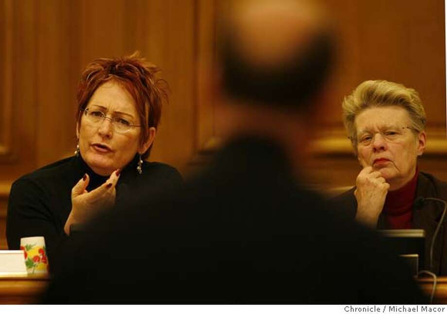 In this 2006 file photo, San Francisco Police commissioners, Theresa Sparks, left and President, Louis Renne, right, ask questions of Sgt. Dennis Quinn who trains 98 percent of new recruits in use of force options at the SFPD police academy. Weekly meeting of the San Francisco Police Commission, discussion on Use of Force issues part of the agenda. Photo: Michael Macor