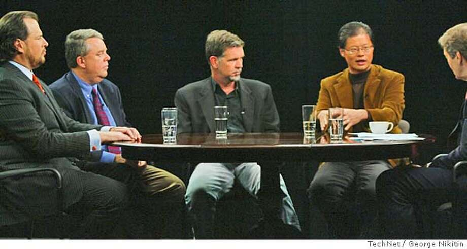 In this photo provided by Tech Net, Jerry Yang, founder of Yahoo!, second from right, speaks to television interviewer Charlie Rose, right, at the TechNet Summit, Wednesday, Nov. 16, 2005, in San Jose, Calif. The TechNet Summit brings together America's top business leaders to discuss the state of innovation and the public policies needed to sustain America's competitiveness. Pictured next to Yang, from left, is Mark Benioff, CEO of Salesforce.com; Bill Cobb, eBay President; and Reed Hastings, CEO of Netflix. (Photo/TechNet, George Nikitin) ** ** HAND OUT PHOTO PROVIDED BY TECH NET Photo: GEORGE NIKITIN