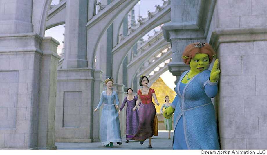 """Realizing that princesses can't always wait to be rescued, Princess Fiona (CAMERON DIAZ, right)-along with (left to right) obsessive-compulsive Cinderella (AMY SEDARIS), Doris, the Ugly Stepsister (LARRY KING), prissy-but-sarcastic Snow White (AMY POEHLER) and narcoleptic Sleeping Beauty (CHERI OTERI)-sets out to aide Shrek (MIKE MYERS) in DreamWorks' SHREK THE THIRD, to be released by Paramount Pictures on May 18, 2007. DreamWorks Animation S.K.G. Presents a PDI/DreamWorks Production, DreamWorks """"Shrek the Third,"""" which is being distributed by Paramount Pictures. Directed by Chris Miller, the film features the voice talents of Mike Myers, Eddie Murphy, Cameron Diaz, Antonio Banderas, Rupert Everett, Justin Timberlake, Julie Andrews, John Cleese, Eric Idle, Cheri Oteri, Amy?Poehler, Maya Rudolph, Amy Sedaris, John Krasinski and Ian McShane. The story is by Andrew Adamson. The screenplay is by Jeffrey Price & Peter S. Seaman and Chris Miller & Aron Warner. The film is produced by Aron Warner and co-directed by Raman Hui. The executive producers are Andrew Adamson and John H. Williams. This film is rated PG for some crude humor, suggestive content and swashbuckling action. Photo Credit: DreamWorks Animation LLC Photo: DreamWorks Animation LLC"""