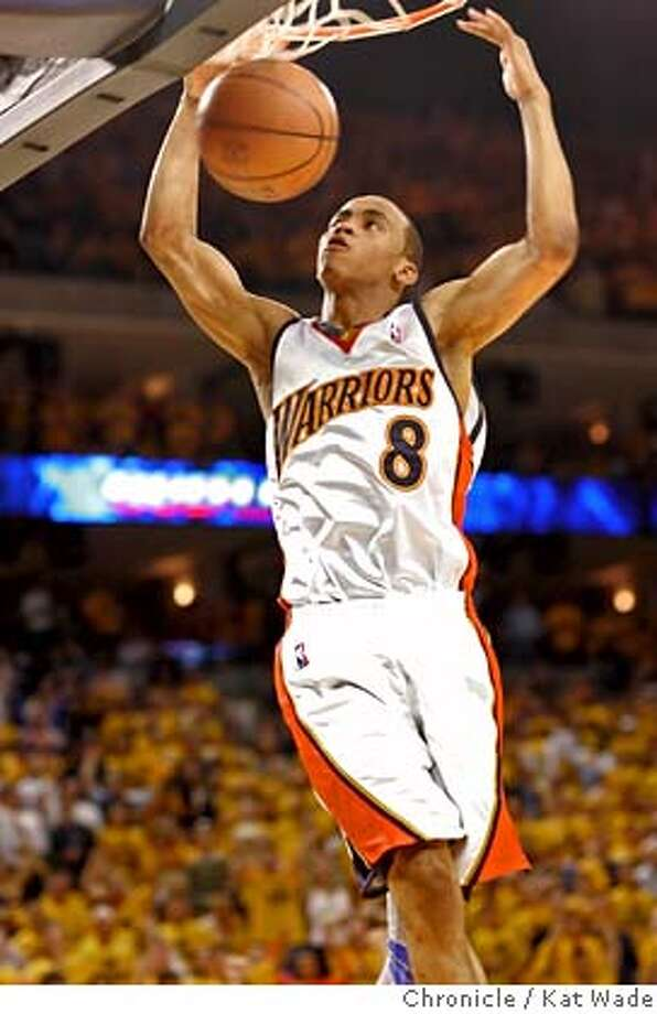 Event on 5/11/07 in Oakland.  Golden State Warriors' Monta Ellis goes up for two as the Warriors lead the Utah Jazz at the end of the first half in game three, round two of the Western Conference Semi-Finals at Oracle Arena in Oakland, California. Photographed May11, 2007.  Kat Wade / San Francisco Chronicle Warriors, Jazz, Western Conference Semi-Finals Photo: Kat Wade