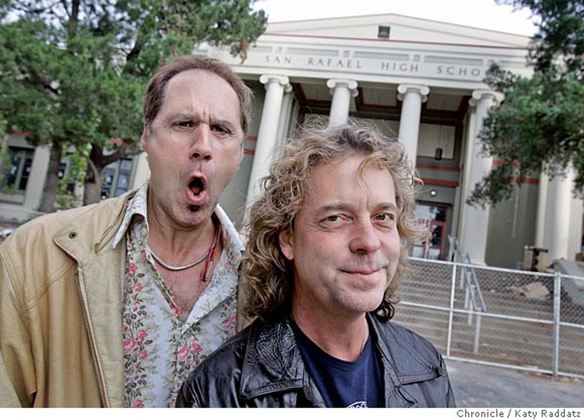NBREUNION_025_RAD.JPG SHOWN: L to R: Kelly Keagy, Jack Blades. They are two members of a rock band called Night Ranger, who shot a music video at San Rafael High School in the 80s. Carolyn Jones is writing about the class reunion for Friday. Photo taken on 11/6/05, in San Rafael, CA. By Katy Raddatz / The San Francisco Chronicle MANDATORY CREDIT FOR PHOTOG AND SF CHRONICLE/ -MAGS OUT