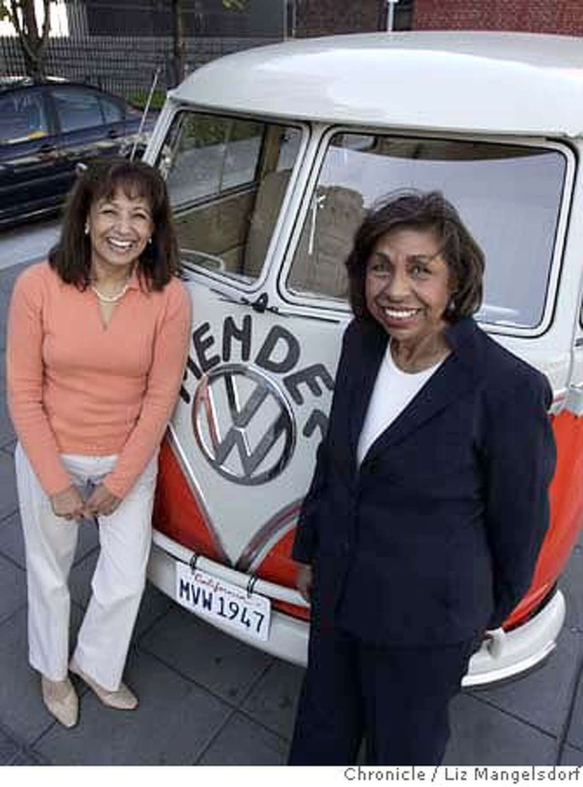 Sylvia Mendez, right, and Sandra Robbie, left, in front of the VW Bus that Robbie is driving cross country to promote her new documentary about the court case known as Mendez v.Westminster. Sylvia Mendez's parents brought a case before the Federal Court on behalf of their children regarding segregated schools in California. Photo taken in front of the Federal Courthouse in San Francisco on May 8, 2007. Liz Mangelsdorf/ The Chronicle