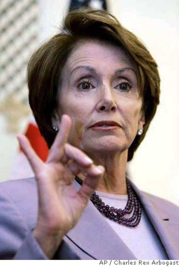 House Speaker Nancy Pelosi responds to a question during a news conference before a fund raising lunch for U.S. Rep. Jan Schakowsky, D-Ill., in Chicago, Friday, May 4, 2007. (AP Photo/Charles Rex Arbogast) Photo: Charles Rex Arbogast