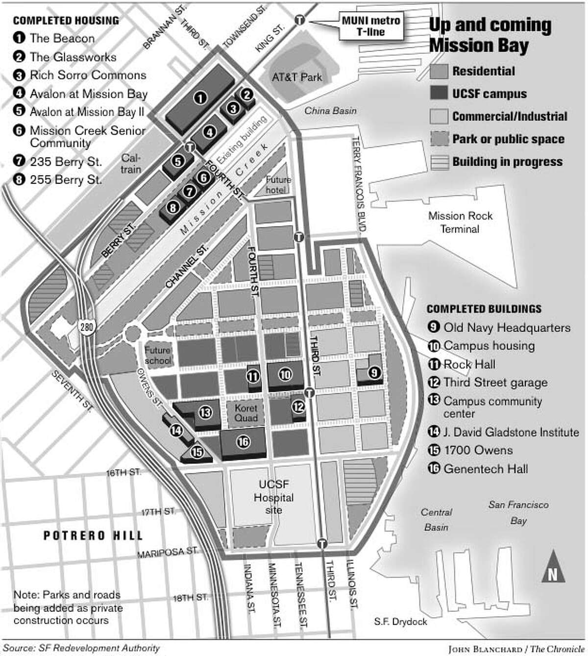 Up and Coming Mission Bay. Chronicle graphic by John Blanchard