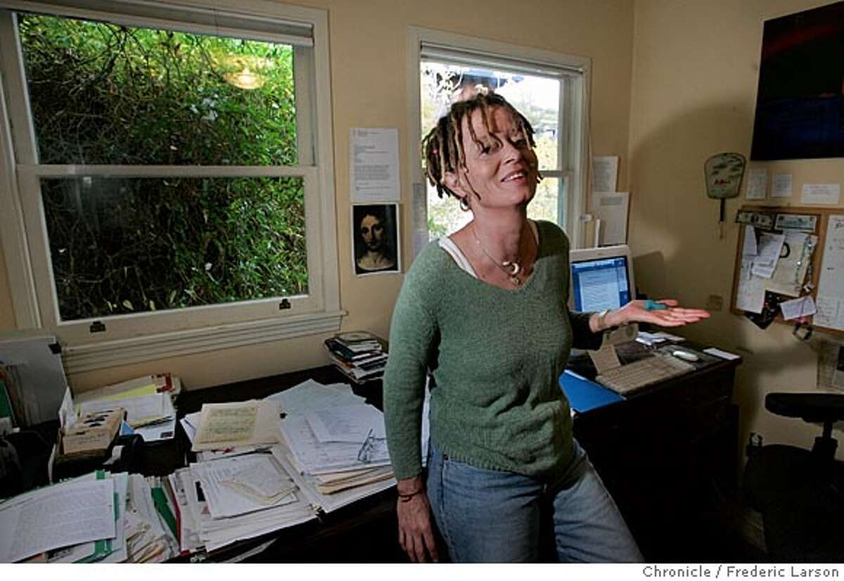 WRITERS_0060_fl.jpg Marin writer Anne Lamott and the room in her home where she does her work. The idea behind the story is that we're making a bit of a generalization about the idea that famous writers work in very small spaces, which they tend to personalize with photos and art, furniture, etc. that say something distinctive about themselves. 10/28/05 Fairfax CA Frederic Larson The San Francisco Chronicle