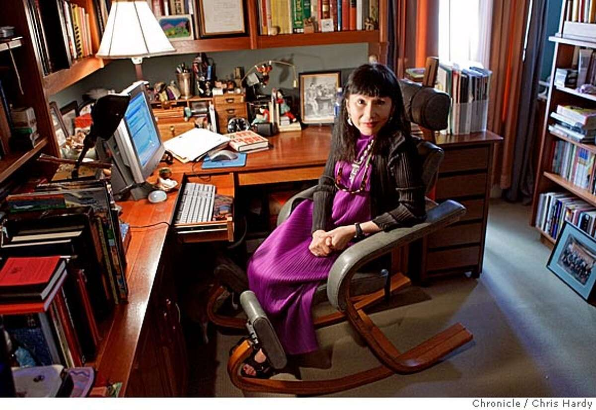 Author Amy Tan in her dimly lit office. in San Francisco 8/29/05 Chris Hardy / San Francisco Chronicle