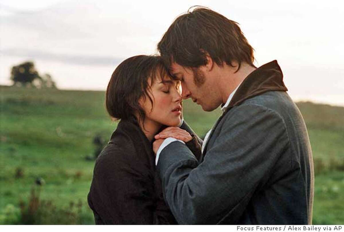 """In this photo provided by Focus Features, Keira Knightley (left) and Matthew Macfadyen (right) star in """"Pride & Prejudice,"""" based on the novel by Jane Austen. (AP Photo/ Focus Features/Alex Bailey)"""