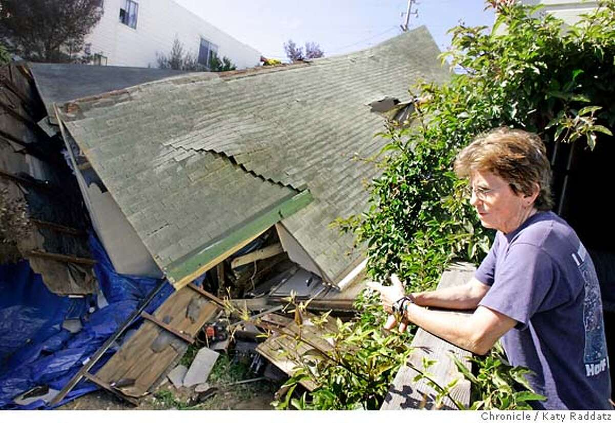 SHOWN: Lisa Katzman, who lives with her family in 139 Mangels, the house just to the east of the small house at 149 Mangels St. in San Francisco that fell down the hillside lot it is built on, and collapsed and twisted during that fall. Lisa's house was damaged by the falling house. Debbie Durham and Jackie Crivinar, who live just doors away. Demian Bulwa is the reporter for Metro. These pictures were made in San Francisco, CA. on Sunday, May 6, 2007. (Katy Raddatz/The Chronicle) **Lisa Katzman