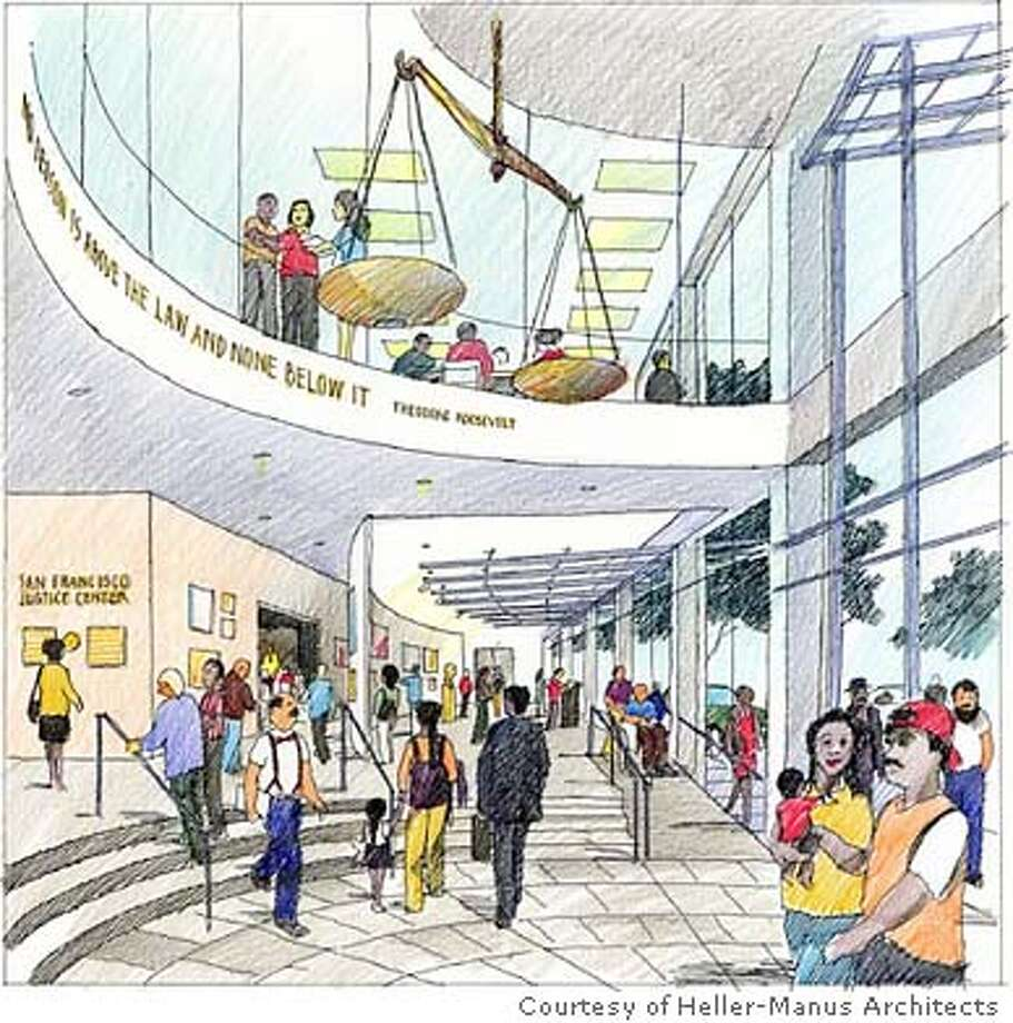 JUSTICE-Interior For New Justice Center story by Gerald Adams, Metro ; A new home for the San Francisco Law Library and Justice Center at 525 Golden Gate in San Francisco will look like this once the former state office building is remodeled, expanded and gets a fresh�facade. Credit: Heller-Manus Architects ; on 8/5/03 in . / Heller-Manus Architects