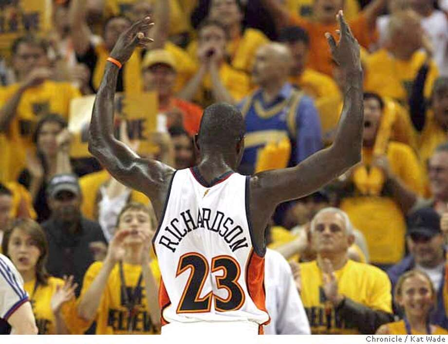 warriors04_kw.jpg Golden State Warriors' Jason Richardson leaves the game in the fourth quarter. Game Six of the NBA Western Conference Quarterfinal playoffs between the Golden State Warriors and the Dallas Mavericks. Photo taken: 05/03/07 Kat Wade / The Chronicle ** (roster cq) MANDATORY CREDIT FOR PHOTOG AND SF CHRONICLE/NO SALES-MAGS OUT Photo: Kat Wade