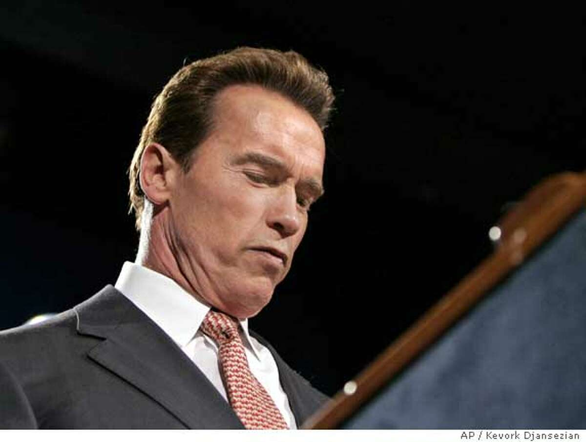 California Governor Arnold Schwarzenegger speaks to supporters at his election night party in Los Angeles, November 8, 2005. Schwarzenegger lost his bid to push through a broad package of government reforms in a special off-year election on Tuesday that he called in an attempt to flex his political muscles. With more than 85 percent of the votes counted, Schwarzenegger trailed on all four of the initiatives he had championed, and four other measures also appeared to have lost. REUTERS/Kevork Djansezian/Pool