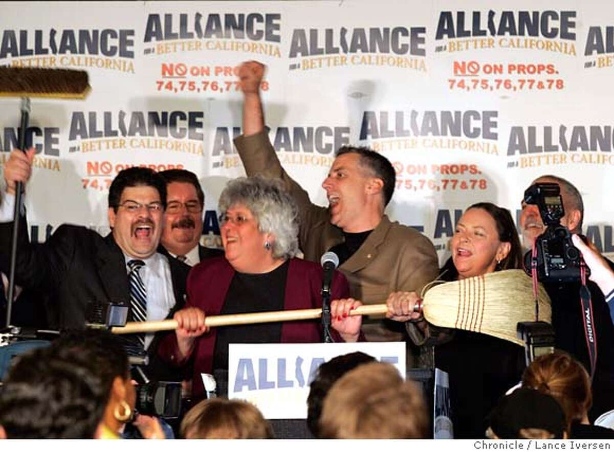 ELECTIONALLIANCE0261.jpg_ Mike Jimenez, left, president of the California Correctional Peace Officers Association, Barbara Kerr Ca Teachers Assn President, Lou Paulson, right, president of the California Professional Firefighters, and California Nurses Association, Deborah Ann Burger, right, declare clean sweep at a rally in Sacramento, Calif., Tuesday night, Nov. 8, 2005 after the polls closed Tuesday night. It appears that they defeated Gov. Arnold Schwarzenegger's ballot initiatives in the special election. By Lance Iversen/San Francisco Chronicle