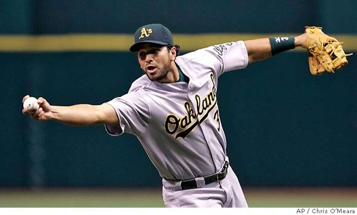 Oakland Athletics third baseman Eric Chavez barehands the ball after a ground ball by Tampa Bay Devil Rays' B.J. Upton took a funny bounce during the second inning of a MLB game Friday May 4, 2007, in St. Petersburg, Fla. Chavez threw wildly to first base, allowing Upton to reach second. (AP Photo/Chris O'Meara)
