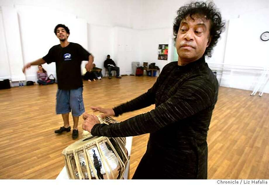 CHITRESH_153_LH.jpg Guru dance master Chitresh Das (right) and tap dancer Jason Samuels Smith (left) during rehearsal. Photographed by Liz Hafalia on 9/14/05 in San Francisco, California. SFC Creditted to the San Francisco Chronicle/Liz Hafalia Photo: Liz Hafalia